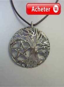 arbre de vie et pentacle pendentif argent