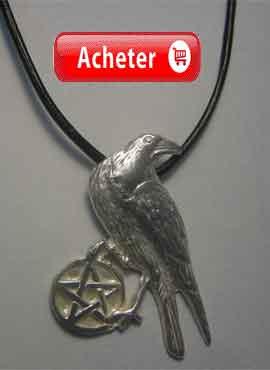 corbeau avec pentacle pendentif charm