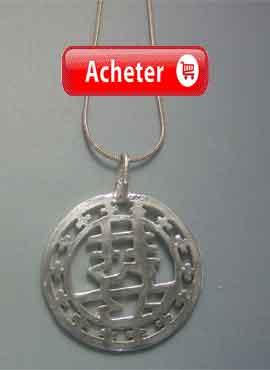 amulette-chinoise-double bonheur xing fu pendentif argent