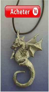 dragon de feu Beowulf danois. pendentif argent 925