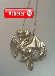 dragon heraldique Wyvern pendentif argent 925 bijoux