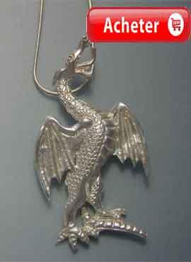 dragon-du pays de galles- Roi Uther pendentif argent