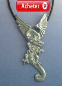 dragon de feu Wawel de la Pologne. Pendentif argent collier