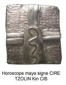 horoscope maya signe cire o guerrier. Tzolkin kin cib. Zodiques glyphes mayas calendrier pendentif argent