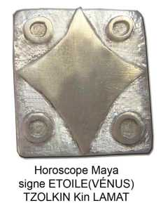 horoscope maya signe etoile o Vénus. Tzolin kin Lamat. Zodiaque gliphes mayas calendrier pendentif argent