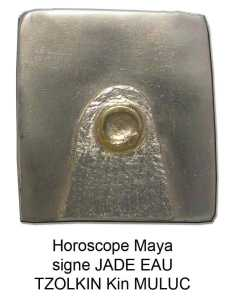 horoscope maya signe Jade eau o lune. Tzolkin kin muluc. Zodiaques glyphes mayas calendrier. pendentif argent