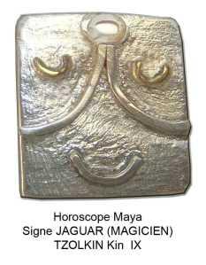 horoscope maya signe jaguar o magicien. Tzolkin kin ix. Zodiaques mayas glyphes calendrier pendentif argent