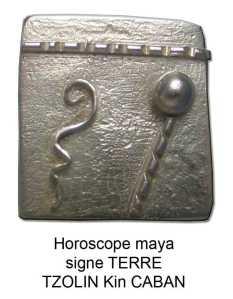 horoscope maya signe terre tzolin caban kin gliphes zodiaques pendentif en argent