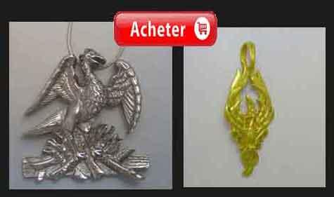 phenix pendentifs argent et or