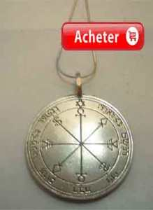 Talismán de la lune sixième pentacle pendentif argent