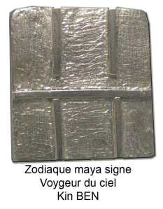 horoscope maya voyageur du ciel, tzolkin ben, gliphe maïs vert jeune. zodiaque pendentif en argent