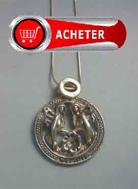 pendentif horoscope gémeaux signes zodiaque argent