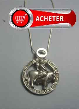 pendentif horoscope signe taureau argent