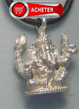 Ganesh pendentif argent (ou Gaṇesha, Vinâyaka, Gaṇapati) amulette bonheur de hindouisme