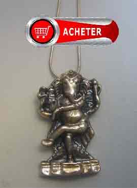 Ganesh éléphant pendentif argent (ou Gaṇesha, Vinâyaka, Gaṇapati) symbole bonheur de hindouisme