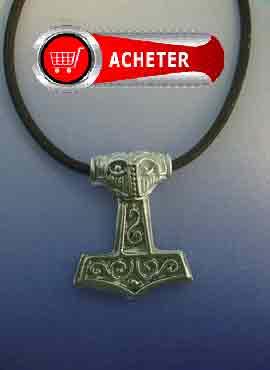 pendentif en argent massif de marteau dieu Thor. Mjöllnir