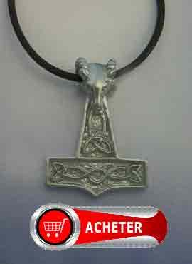 pendentif en argent massif de marteau de dieu Thor. Mjöllnir