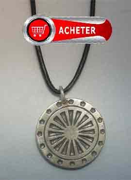 roue-du-dharma-pendentif argent massif amulette hindouisme amulette mandala