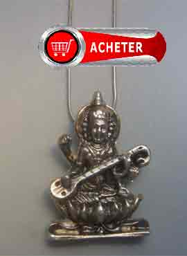 sarasvati-déesse-pendentif argent massif amulette